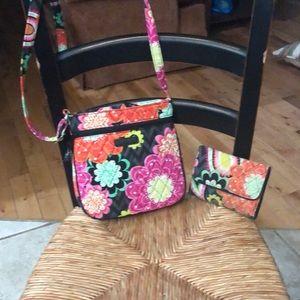 Vera Bradley shoulder bag and matching wallet.